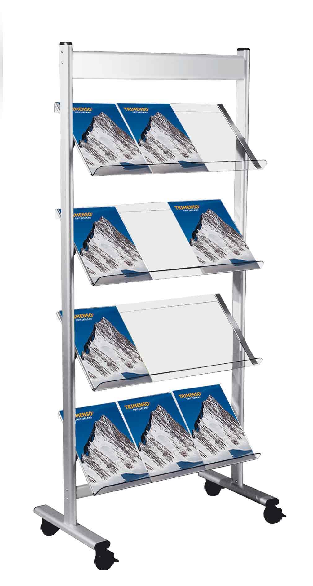 Prospektregal fahrbar für 16 x DIN A4 arretierbaren mit Gelenkrollen