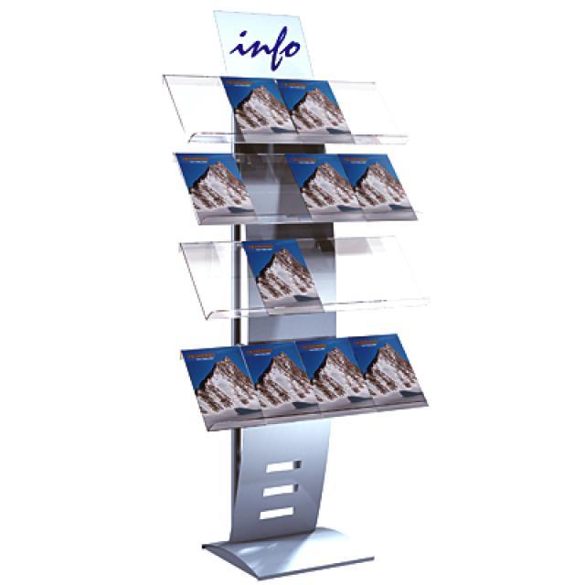 Design-Prospektregal mit 4 Ablagen für 16x A4