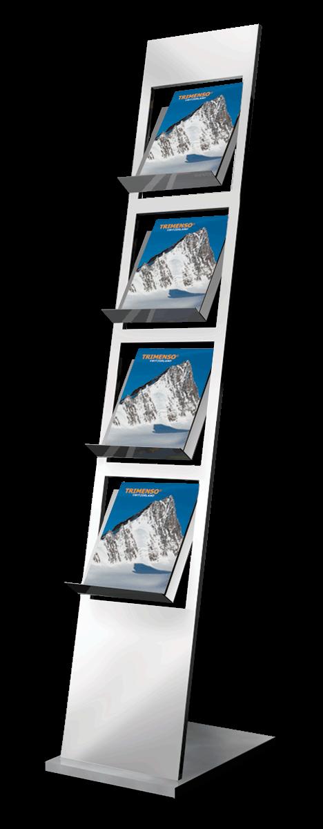 Edelstahl Prospektstaender mit 4 Prospektfaechern